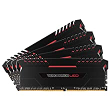 Corsair CMU64GX4M4C3000C15R Vengeance 64 GB (4 x 16 GB) DDR4 3000 MHz C15 XMP 2.0 Enthusiast LED Illuminated Memory Kit - Black/Red