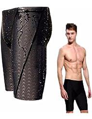 Hombres traje sólido CAMTOA, bañadores, stretch-Fit proveeduría, bloqueadores, concurso traje de baño para playa océano buceo natación, color Negro - negro, tamaño large