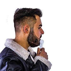 KABRON Bart Schablone Bartkamm Rasierhilfe Bart Rasur mit Gebrauchsanleitung Bartpflege Transparent Beard