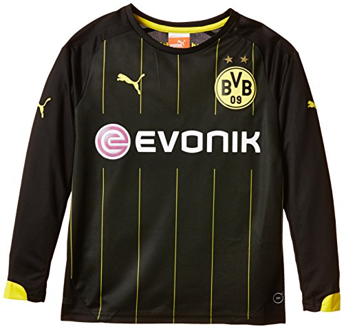 PUMA Kinder Trikot BVB Long Sleeve Away Replica, Black/Cyber Yellow, 140, 745900 01
