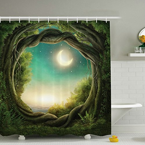 Greenery Trees Forest Full Moon Polyester Fabric Digital Printing Waterproof Shower Curtain Bathroom Decorations Rustic Home Curtains
