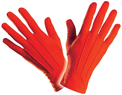 Handschuhe Clown Show Polyester Zyrkus rot red farbig Karneval Fasching ()