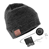 Bluetooth Bonnet, Unisexe Chapeau Casque Bluetooth Chapeau sans Fil avec casque Stéréo intégré Microphone et Batterie rechargeable Compatible avec Smartphones iPhone iPad Tablettes etc. (grigio)
