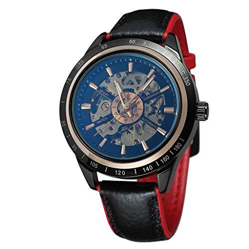 LABIUO Herren Uhren Automatische Uhr des transparenten Roten Schwarzen Gurtes des Modemotorraddesigns Einfache Runde Gehäusequarzuhr(D,Freie Größe)