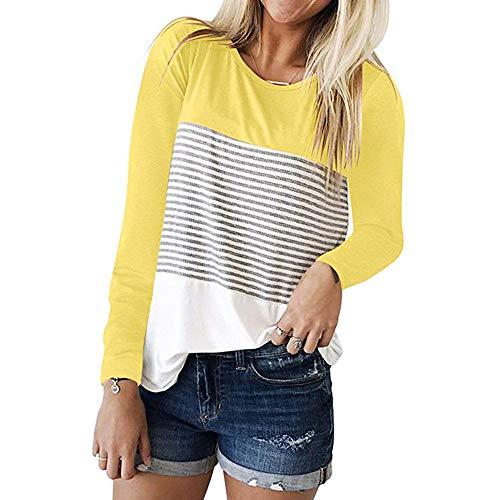 Streifen Und Weißem Kragen Kleid Shirt (MRULIC Frauen Kurzarm Dreifach Farbe Block Streifen T-Shirt Casual Bluse Damen Shirt Weisse Bluse(S-Gelb,EU-44/CN-2XL))