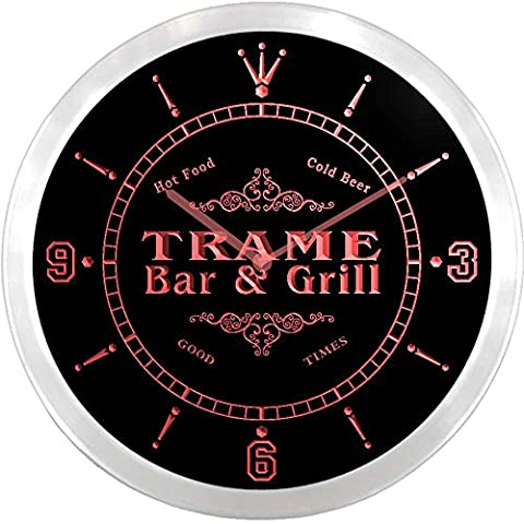 ncu45467-r TRAME Family Name Bar & Grill Cold Beer Neon Sign LED Wall Clock