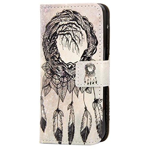 iPhone 6S Plus Hülle,iPhone 6 Plus Hülle, iPhone 6 Plus/ 6S Plus Hülle Ledertasche Brieftasche handyhülle im BookStyle, SainCat PU Leder Wallet Case Folio Schutzhülle Gemalt Muster Hülle Bumper Handyt Campanula Blätter
