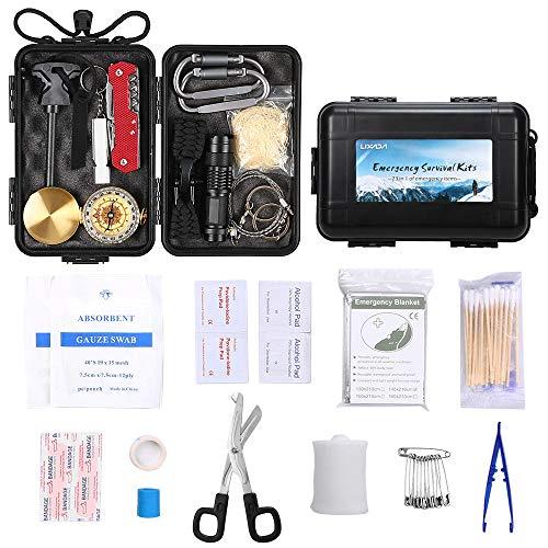 Lixada Kit di Sopravvivenza di Emergenza di 23 Tipi Kit di Pronto Soccorso per l'escursionismo in Campeggio