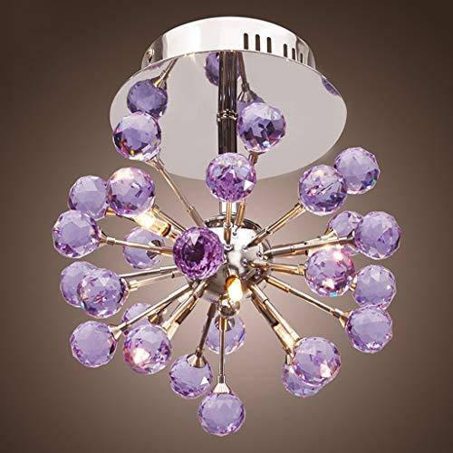ACZZ Crystal Chandeliers 6-Light Deckenleuchte Crystal Mini Semi Flush Mount Deckenleuchte Pendelleuchte (Lila) - 6 Light Flush Mount Crystal
