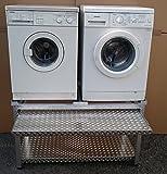Waschmaschinen Untergestell Mara 2 Premium 700 WASCHCENTER mit 1 Teleskop-Auszug für Wäschekörbe / 70 cm hoch / mit Ablageblech unten / Verstärkte Aluminium - Ausführung / Teleskop-Auszüge rappelfrei / / rostfrei / Unterbau für 2 Maschinen Trockner und Waschmaschine /