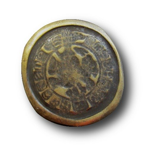 Knopfparadies - 5er Set ausgefallene Knöpfe wie antike Münzen bei Ausgrabungen entdeckt / unrund / altmessingfarben / Metall / Ø ca. 21 x 23mm