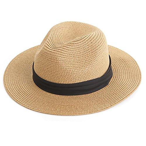 Zxwzzz Hüte Huts Herren Sonnenhut Sommer Outdoor Sonnenschutz Cowboyhut Zusammenklappbare Große Wanderung Angeln Strohhut Strandhut (Color : Khaki)