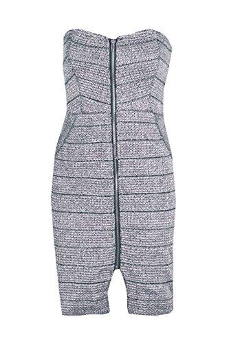 Silber Damen Boutique Marie Bodyconkleid In Metallic-optik Mit Reißverschluss Silber