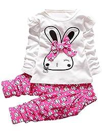 Ropa Niña Otoño Invierno,Fossen Conjunto de Ropa para Niñas 1-4 años Bebe Conejito de Dibujos Animados Camisetas de Manga Larga Tops + Pantalones
