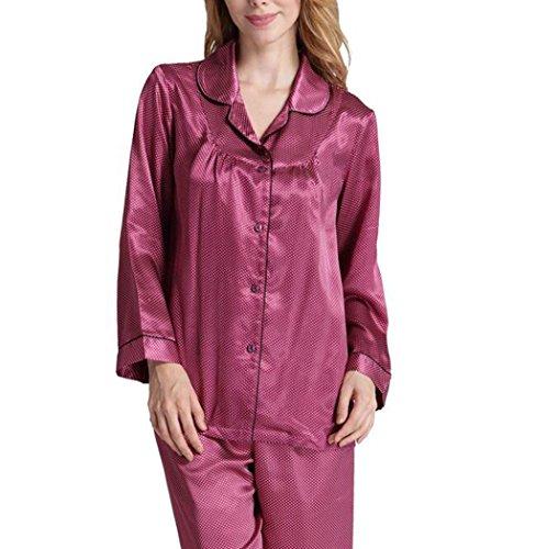 HAIYUANNAN Womens Silk Satin Pyjamas Set Sleepwear Loungewear Lange äRmel Hosen M ~ XL Geschenke Gib Dir Einen Bequemen Schlaf, 170 (XL) -