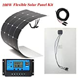 Brillihood 100W flexible Solarmodule, einschließlich 20A 12V/24V LCD-Steuerung für Boote, Wohwagen, Zuhause oder netzferne Solarstromanlage