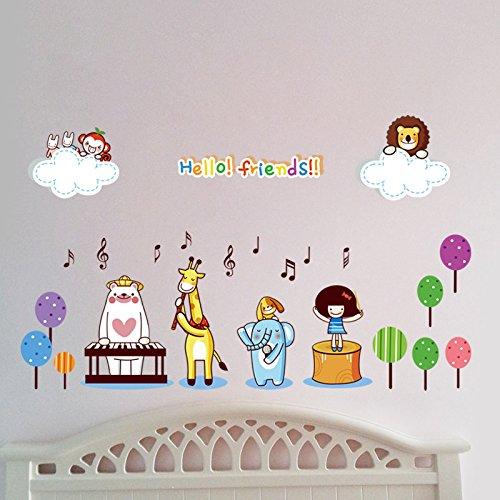 ei im Zimmer Ihres Babys das Wohnzimmer Schlafzimmer Kindergarten Klasse Kinderzimmer Dekoration cartoon Sticker Musik Karneval kleine Tiere, Bilder Farbe (Karneval Kleine Wand Dekorationen)