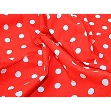 Craft Cotton Company - Tela (114 cm de ancho, venta por metro), diseño a lunares blancos, color rojo