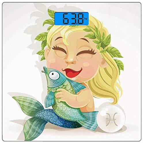 Digitale Präzisionswaage für das Körpergewicht Platz Astrologie Ultra dünne ausgeglichenes Glas-Badezimmerwaage-genaue Gewichts-Maße,Baby-Fisch-Symbol, das Fisch-Nemo-Horoskop-Sammlung Venus Little Me