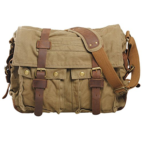 VRIKOO Vintage Military Soft Canvas Crossbody Sports Casual Shoulder Bags Satchel School Messenger Bag (Army Green,X-Large) -