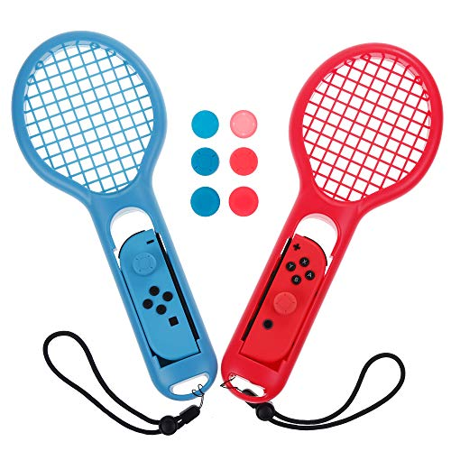 Zacro Raqueta de Tenis para Joy-con Controlador, Acessorio de Joy-con, Raqueta de Tenis para Mario Tenis Aces (2 Raquetas + 6 Tapas de Silicona Negra)