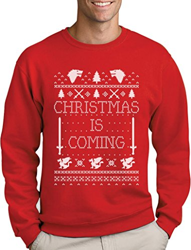 Christmas is Coming - Weihnachtspullover Männer für GOT Fans Sweatshirt Medium Rot