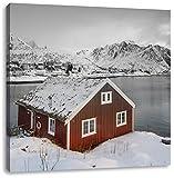 Fischerhaus an den Lofoten Inseln B&W Detail, Format: 40x40 auf Leinwand, XXL riesige Bilder fertig gerahmt mit Keilrahm