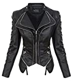 Rock Creek Damen Kunstleder Jacke Übergangs Jacke Leder Optik Bikerjacke D-365 [WS-967 Black XS]