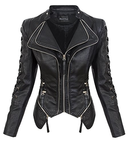 Rock Creek Damen Kunstleder Jacke Übergangs Jacke Leder Optik Bikerjacke D-365 [WS-967 Black XL]