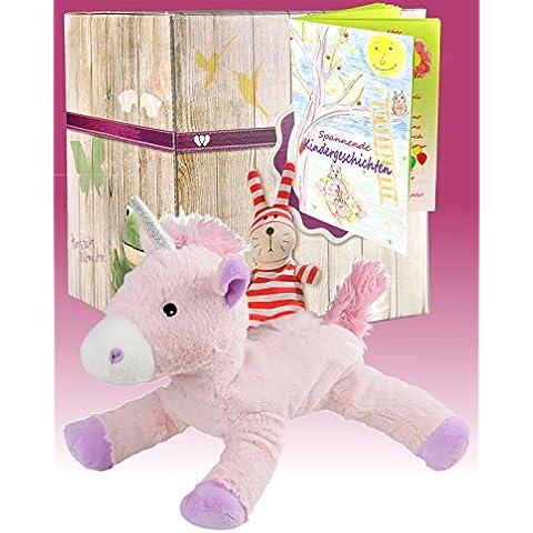 Warmies regalo set–Morbido peluche unicorno con profumo di lavanda e elegante confezione regalo + libretto con emozionanti Bambini hichten