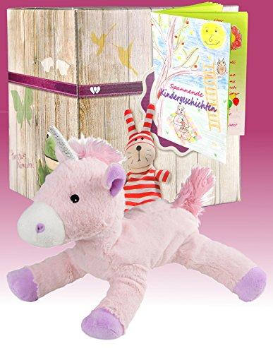 Preisvergleich Produktbild Warmies Geschenkset - Kuscheltier Einhorn mit Lavendelduft Wärmekissen + Edle Geschenkverpackung + Büchlein mit spannenden Kindergeschichten