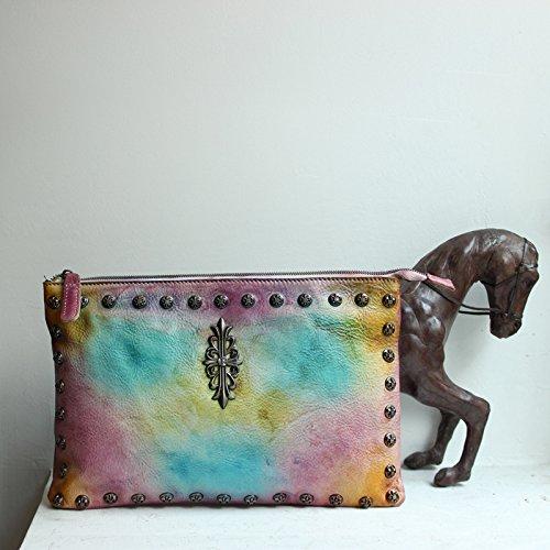 Vintage rivet ceinture en cuir sac à main d'embrayage d'enveloppes par baodan épaule sac à main sac à main en diagonale Sac en cuir Camel