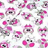 100% Baumwolle Baumwollstoff Kinder Kinderstoff Meterware Handwerken Nähen Stoff Tiermotiv 100x160cm 1 Meter (Eulen Pink Weiß)