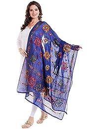 Dupatta Bazaar Women's Block Printed Cotton Blue Dupatta With Aari & Mirror Work.