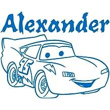 heigth, 50 cm, 60 cm, Farbe blau, mit lightning mcqueen Cars 2, mit name, Wandtattoo, vinyl, personalisierbar, für Kinder, Schlafzimmer, nach dem Kauf Nachricht mit Ihrem Namen ThatVinylPlace