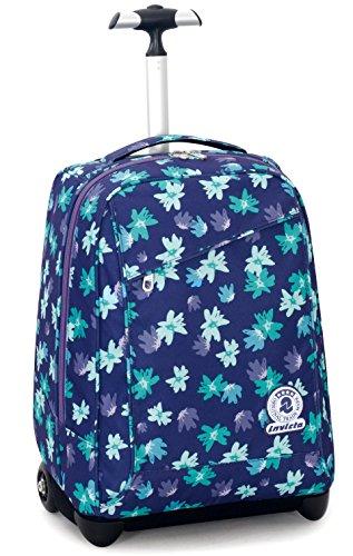 Trolley invicta , painted daises , blu , 35 lt , 2in1 zaino  con spallacci a scomparsa , scuola & viaggio