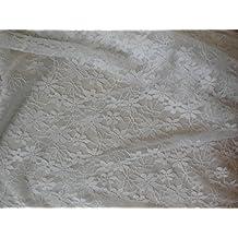 Peach Rosa o blanco floral Tela de Encaje de costura para vestidos encaje de tul tela – se vende por 0,5 Meter * * Libre UK P y p * * Envío ...