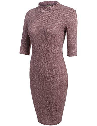 ACEVOG Damen figurbetontes Strickkleid Halbarm mit Rollkragen stricken Freizeitkleid Casual Elegant Kleid eng Rosa