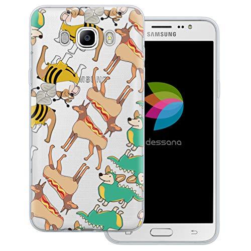 dessana Süße Tiere transparente Schutzhülle Handy Case Cover Tasche für Samsung Galaxy J7 (2016) Hunde im Kostüm