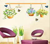 ufengke® Grünen Garten Serie Schöne Blumenkörbe und Schmetterlinge Wandsticker,Wohnzimmer Schlafzimmer Entfernbare Wandtattoos Wandbilder