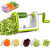 Deik Cortador de Verduras en Espiral de 5 Cuchillas Fácilmente Intercambiables, Antideslizante, Fácil de Usar para Cortar Frutas...