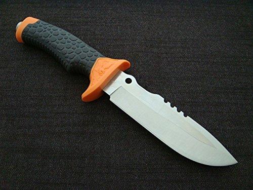 KOSxBO® scharfes Messer mit Scheide Orange Länge 28,5 cm inklusive Etui mit Säge und Rettungsmesser Glasbrecher - Fahrtenmesser - Jagdmesser - Anglermesser - Campingmesser