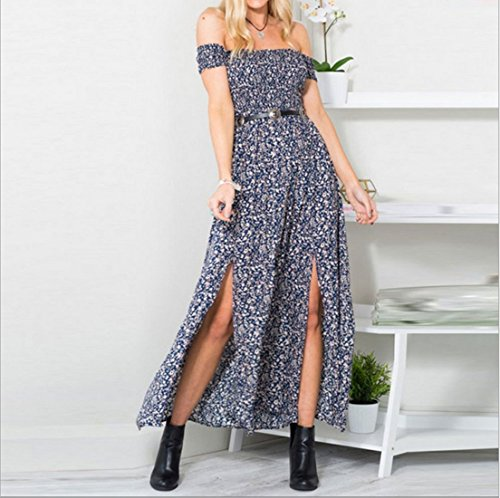 Robe Longue - Imprime Floral - Fentes Laterales - Epaule Denudee - Femme -Koobea Bleu