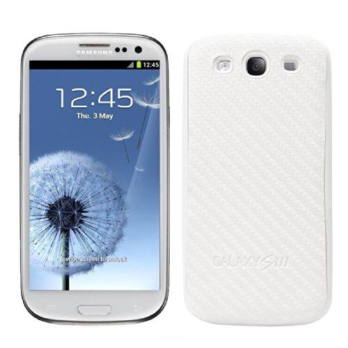 Coperchio batteria in stile carbonio per il Samsung Galaxy S3 i9300 nei colori Bianco della kwmobile - Completa il design del Suo Samsung Galaxy S3 i9300