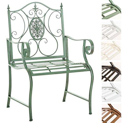 CLP Lackierter Eisen-Gartenstuhl Punjab mit Armlehne I Outdoor-Stuhl im Landhausstil I erhältlich Antik Grün