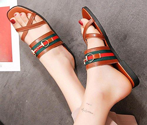 Waichuan weiblichen Sommer Strand Sandalen und Pantoffeln Frauen Sandalen Wort ziehen flache flache Schuhe Brown