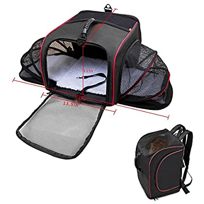 Siivton Pet Backpack Cat Carrier for Small Dogs Cats Rabbits, Collapsible Soft-Sided Mesh & Waterproof Dog Backpack with… 2