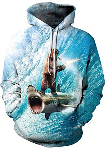 AureQet Herren Unisex Realistische 3D Galaxy Kapuzen Pullover Digitaldruck Sweatshirt Weihnachten Langarm Winter Hoodie Der hai