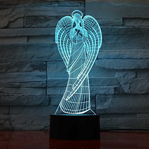 BINGXY Creative 3D Coloré Ailes Fille Forme NightLight Led Ange Table Lampe Home Office Ambiance Décor Virgin Mary Usb Luminaire