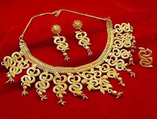 Banithani Ethniques Collier Boucles D'Oreilles Plaqué Or Mis Cadeau De Mariage De Bijoux Traditionnels Pour Elle or